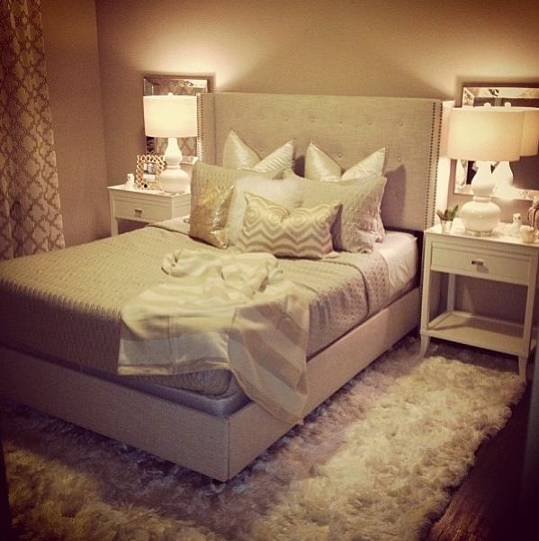 Neutral glam bedroom beige white gold shag rug gourd lamps square mirrors tufted bed - Gold bedroom ideas ...