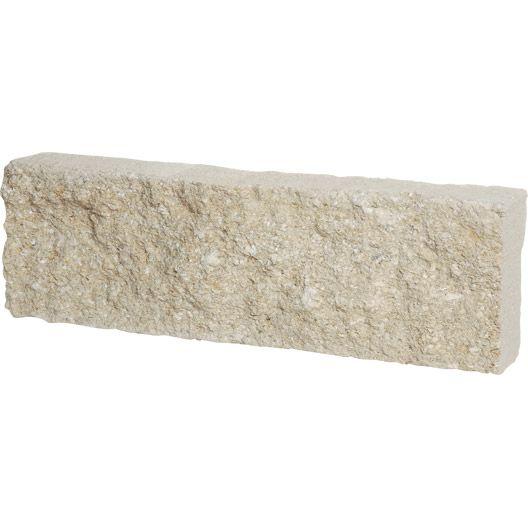 Bordure droite de Provence, pierre reconstituée blanc, H 15 x L 48cm