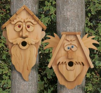 Crazy Cedar Men Birdhouse Plans. Trace & Cut full sized prints. Chickadees and other small birds will make it their home in no time!