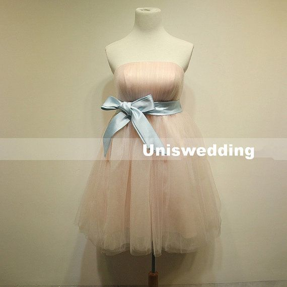 Cute strapless tulle short prom dress evening dress by Uniswedding, $139.00
