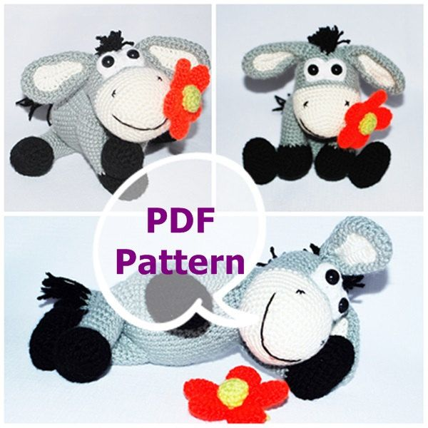 The Donkey with Flower, amigurumi pattern, crochet pattern PDF pattern by BubleCrable on Etsy