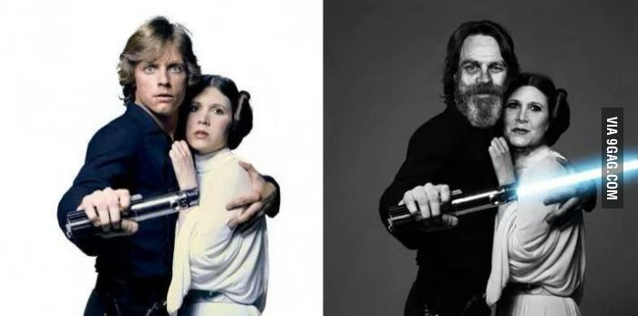 Carrie Fisher and Mark Hamill. Then and now.
