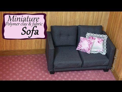 Miniature Doll Sofa - Polymer Clay/Fabric Tutorial - YouTube