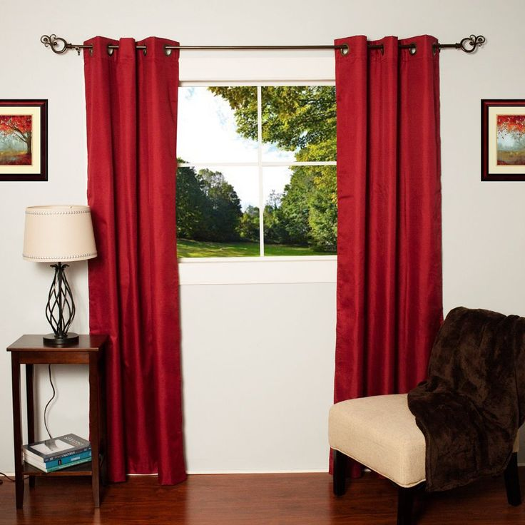 N Faux Silk Blackout Thermal Drape Panels (Set of 2) (Burgundy), Red, Size 84 Inches (Polyester, Solid)
