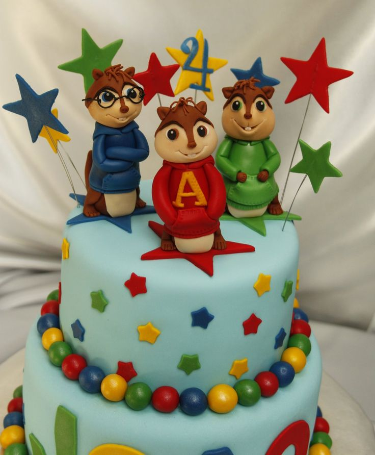 Alvin and the Chipmunks cake with strawberry filling and milk chocolate fudge cake