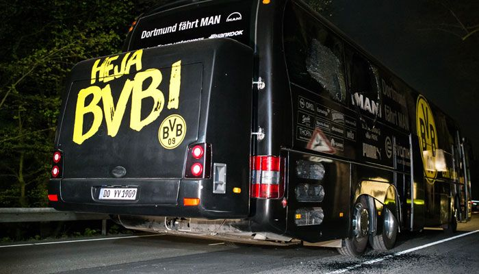 'Islamist link' made in Borussia Dortmund football blasts  Here's all we know so far! #FCBayern  'Islamist link' made in Borussia Dortmund football blasts  Here's all we know so far!  Dortmund: Three explosions hit German football team Borussia Dortmunds bus late Tuesday ahead of a Champions League home game and police found a letter at the scene claiming responsibility for the attack.  Here is what we know so far:-  At around 7:15 pm three explosions detonated just minutes after Dortmunds…