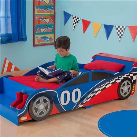 cama con forma de coche de carreras de kidkraft