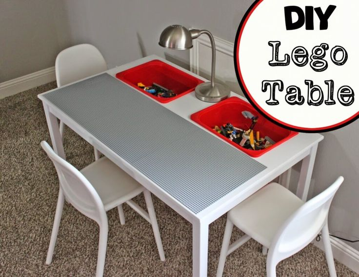 Ikea lego table with storage buckets