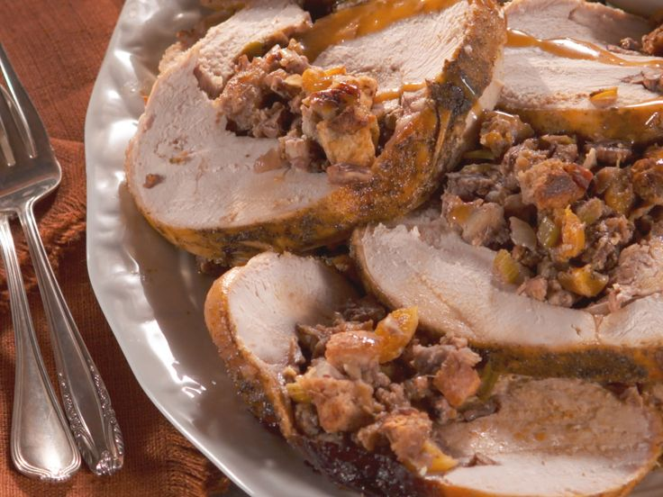 Rolled Turkey Breast with Nutty Fruit Stuffing recipe from Nancy Fuller via Food Network