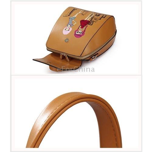 eForChina - Girlfriend Series Embossed Cartoon Pattern PU Leather Backpack (Magenta)