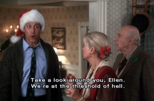 Christmas Vacation. We printed these out and taped them all over the pharmacy