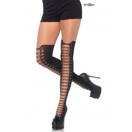 Kvalitní dámské punčocháče s potiskem šněrování nad kolena.