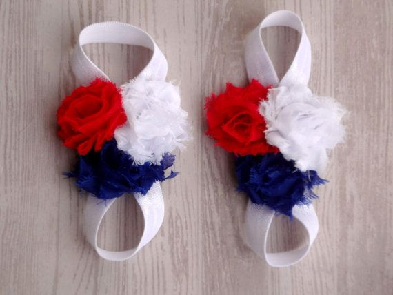 ON SALE Red White and Blue Fourth of July  Baby Barefoot Sandals - July 4th - Photography Prop - Newborn Sandals - Baby Sandals on Etsy, $5.75
