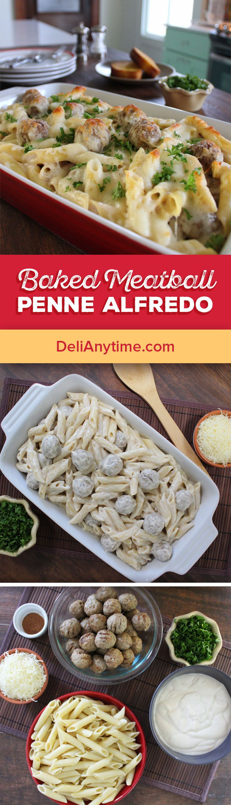 1. Preheat oven to 350 degrees. Boil penne pasta according to package instructions. 2. Heat meatballs and then add to hot pasta. 3. Mix the alfredo sauce with the nutmeg and pour over the pasta and mix, coating the pasta and meatballs. 4. Pour the pasta mixture in a greased shallow casserole dish and sprinkle mozzarella on top. 5. Place in the preheated oven and bake until heated through and cheese is melted and bubbly.