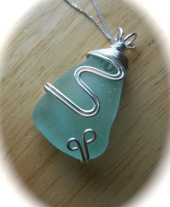 THE SNOWFALL COLLECTION    STUN-NING!!!    A gorgeous super THICK piece of soft aqua blue FLAWLESS sea glass!! Im so in love with how this turned