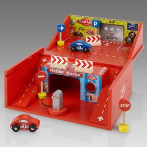 Lacquered Wooden Car Garage in a Box Wooden Toys | little citizens boutique
