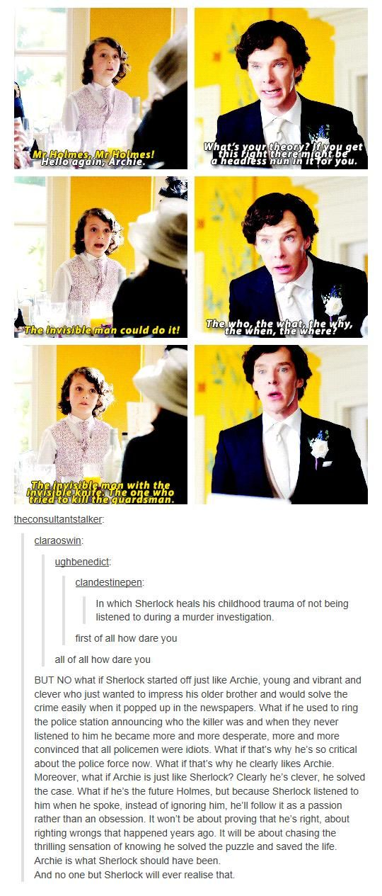 [GIF] Archie is what Sherlock should have been. <-- And bless Sherlock's heart for listening to the boy <3