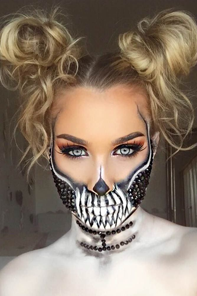 30 Scary Halloween Hairstyles For Long Hair Lovehairstyles Halloween Hair Halloween Makeup Sugar Skull Halloween Makeup Scary