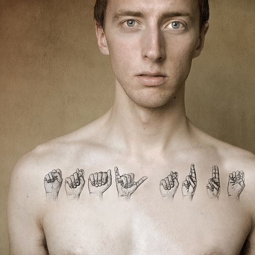 "Sign Language Tattoo: It's all how you look at the world. ""Body Language"" by Boy_Wonder, via Flickr. (p.s. fake tattoo)"