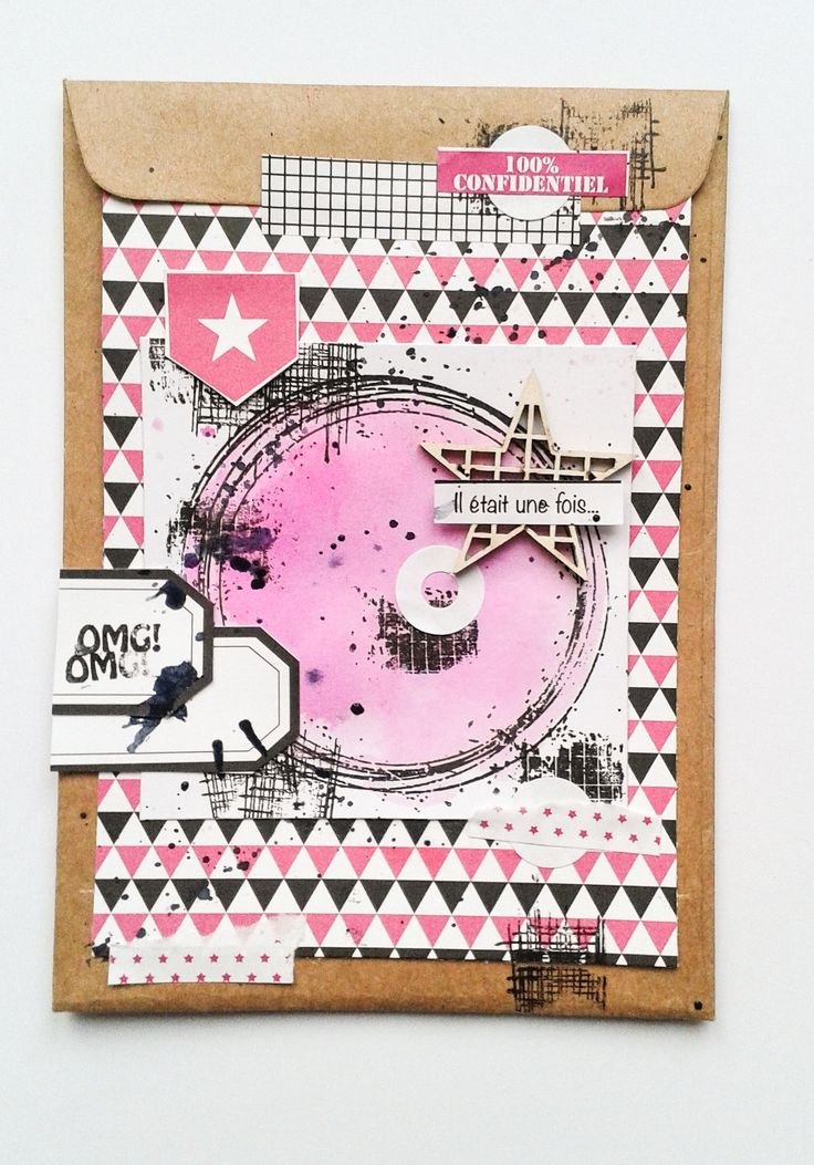 Graffiti'Girl carte pochette kraft freestyle tampons Collection Girly style grunge
