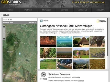 National Geographic developed a GeoStory for Gorongosa National Park (Mozambique).