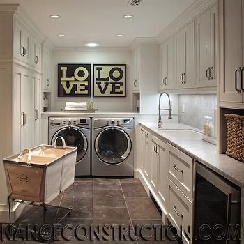 Rolling Laundry Sorter, Transitional, laundry room, Nance Construction