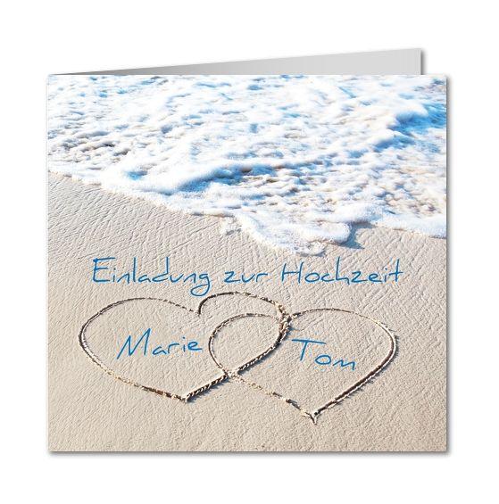 einladungskarte hochzeit herzen im sand │ planet-cards.de
