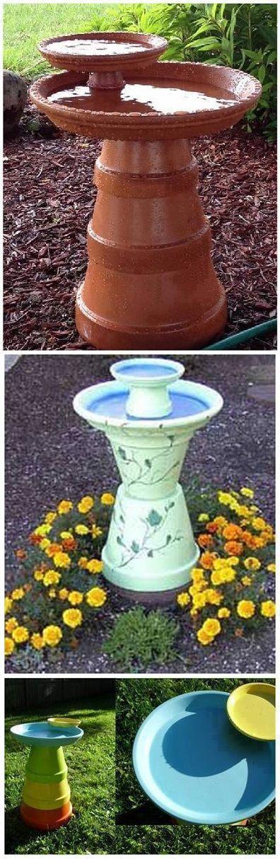 DIY Bird Bath Using Flower Pots...really like the top one! maybe feeder and bath?
