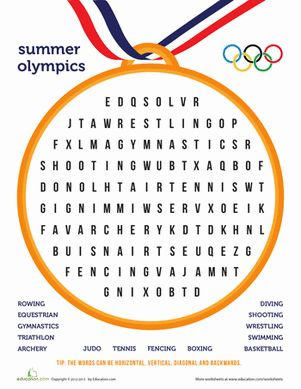 Summer Olympics Third Grade Word Search Spelling Worksheets: Summer Olympics Word Search