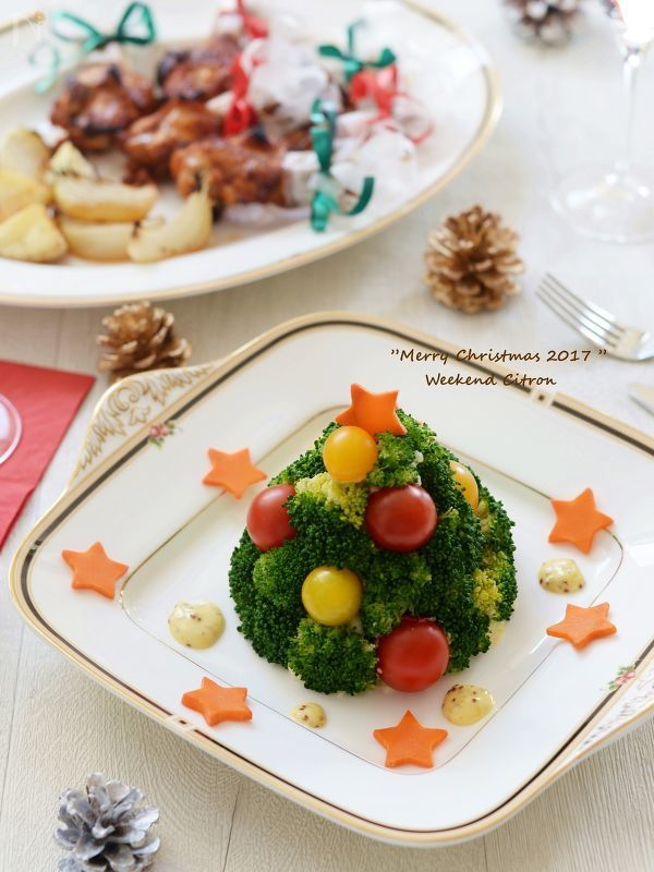 ハムとクリームチーズのマッシュポテトを土台にしたツリーサラダです。  テーブルが一気にクリスマスらしくなりますよ。