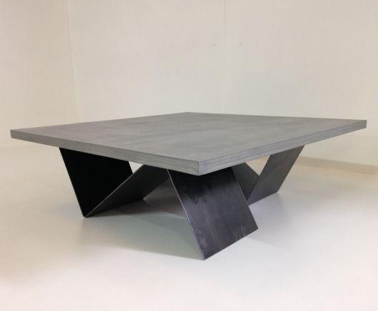 TABLE BASSE BETON CIRE AVEC PIETEMENT ACIER BROSSE - MOBILIER ACHAT