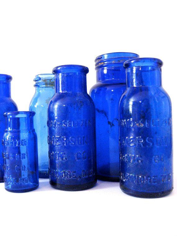 8 antique cobalt blue bottles by LODGEvintage on Etsy