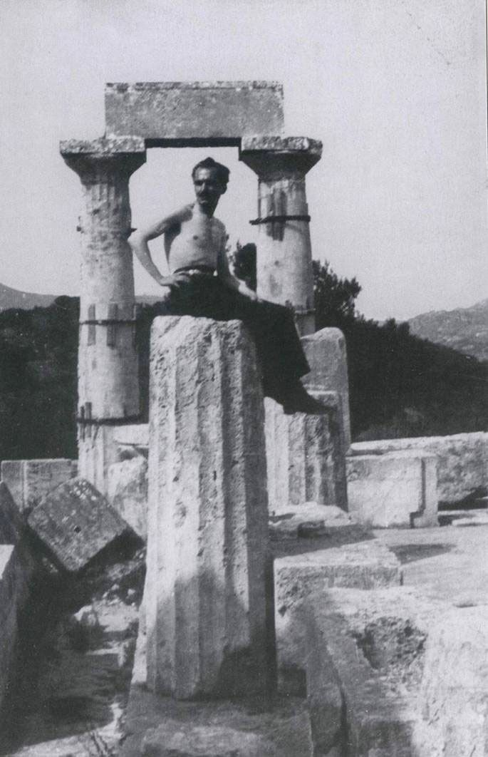 1927 ~ Nikos Kazantzakis at the Temple of Aphaia in Aegina island