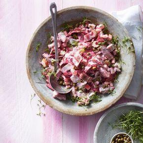 Frisse haring-bietensalade met appel. #JumboSupermarkten #recept #salade