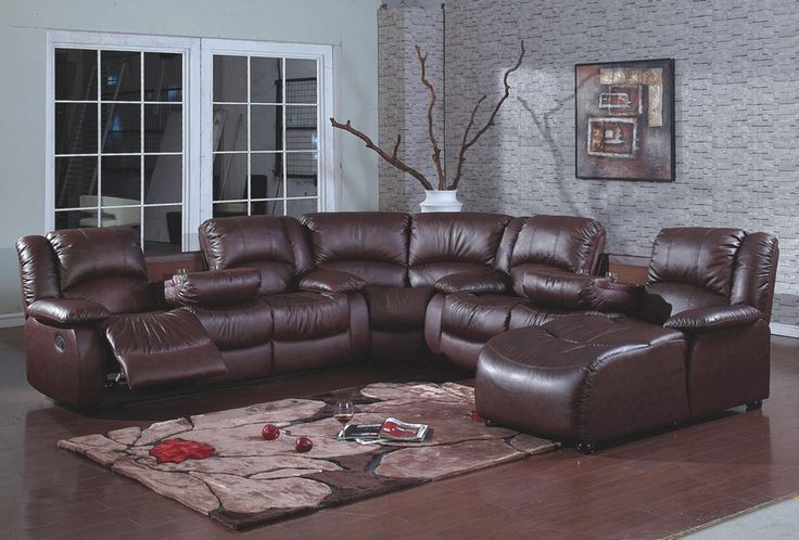 4 pc brown bonded leather sectional sofa with recliners for Brown chaise lounge sofa