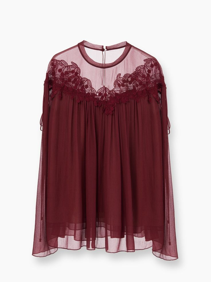 A cherry guipure blouse in crushed georgette from the Chloé Festive selection