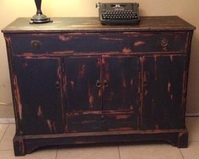 Using homemade black chalk paint painted furniture - Black chalk paint dresser ...
