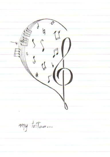 music tattoo clef heart