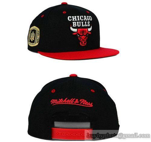 NBA Chicago Bulls Snapback Hats Adjustable Caps M&N Black Red 793