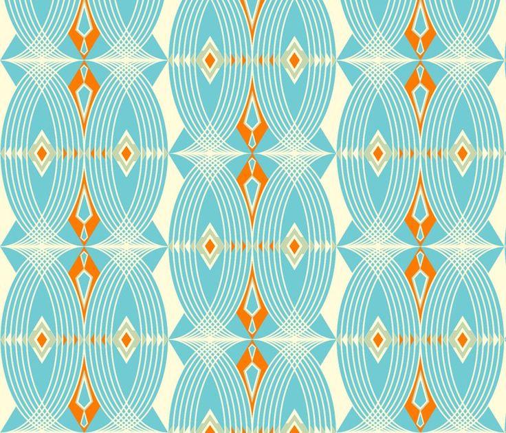 art deco in blue and orange
