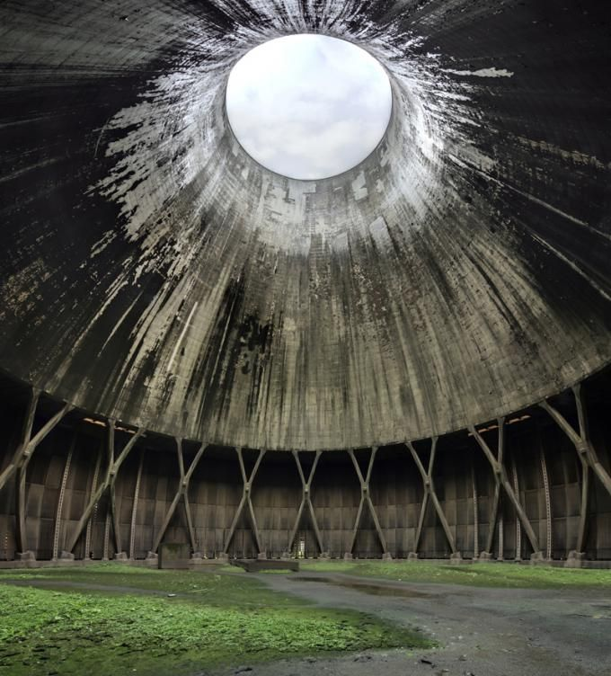 The vast dizzying space within a hige Belgian Cooling Tower. Photograph © Matthew Emmett.