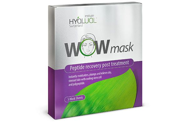 The NEW HyaLual WOW Mask contains 5 bio-peptide rich gel mask sheets for weekly skin rejuvenation. The calm, soothe and hydrate sensitive, mature and dry skin types.