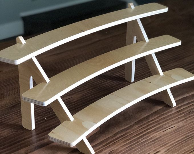The Plain 3 Tiered Wooden Shelf Tiered Stand Cupcake Etsy Wooden Display Stand Wooden Shelves Wood Display Stand
