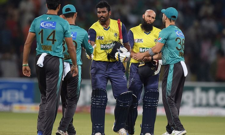 Thisara Perera smashed the winning six for a resurgent World XI side as they conquered the 175-run target with seven wickets to spare in the nail-biting second match of the Twenty20 International (T20I) Independence Cup series at Lahore's Gaddafi Stadium on Wednesday.