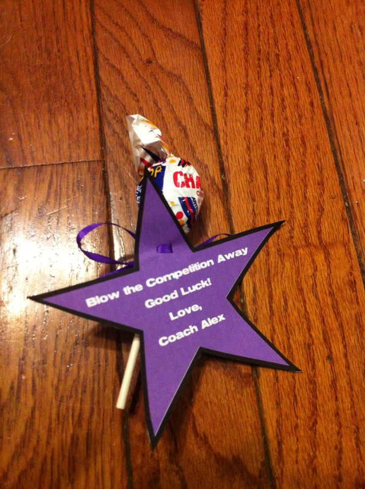 "Good luck cheer competition gift for team Blow pops, ""blow the competition away"" DIY"