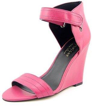 Nicole Miller Palm Beach Women Open Toe Leather Pink Wedge Sandal.