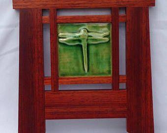 """Frame, Mission Frame, Wood Frame, Tile Frame, Craftsman Frame, 4""""x4"""" Art Tile, Padauk, Arts and Craft style, Unique Frame, Dragon Fly Tile"""