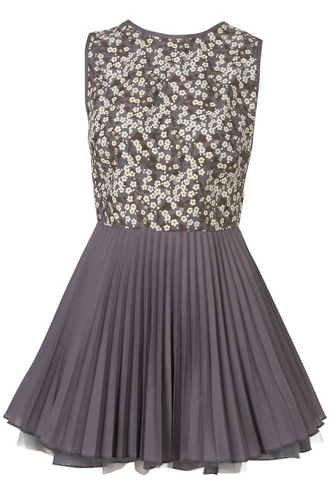 I how this is formal without being strapless.  Also love the pleats and tulle underlayer.