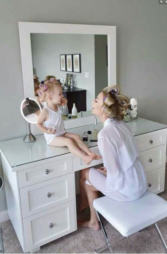 Good idea for a vanity...regular sized desk and mirror