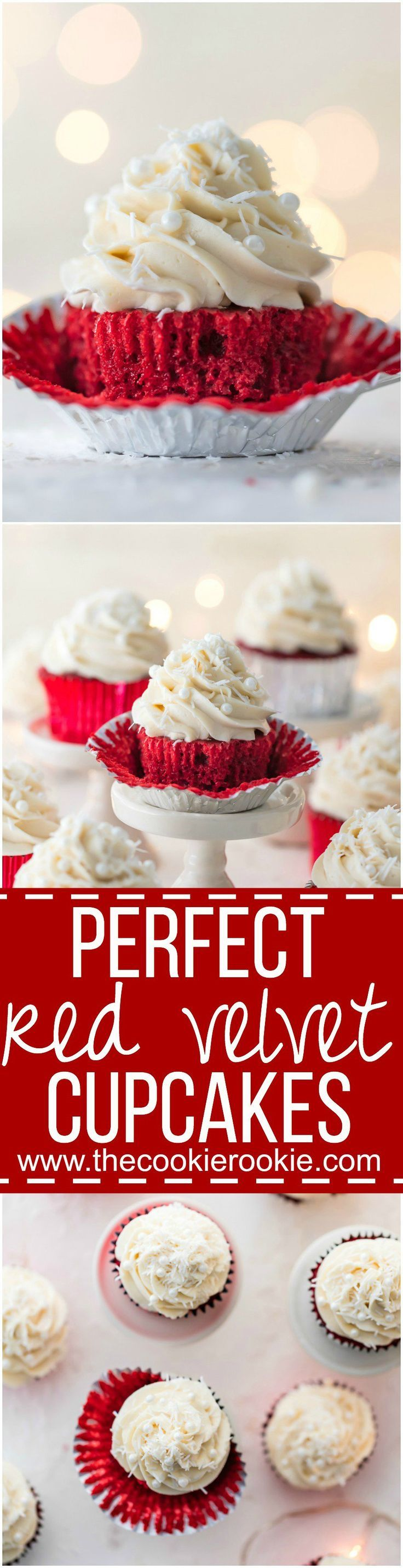 Perfect Red Velvet Cupcakes - The ultimate holiday dessert! You haven't lived unless you've tried these classic cupcakes with the most amazing cream cheese icing! Classic, delicious, and perfect. | The Cookie Rookie